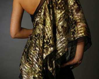 Forest Gold Silk Tie convertible wrap to top