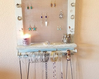 BIG SALE 20% OFF You Can Pick Your Color, Distressed Jewelry Organizer, Jewelry Display, Wall Organizer, Necklace Holder, Earring Organizer