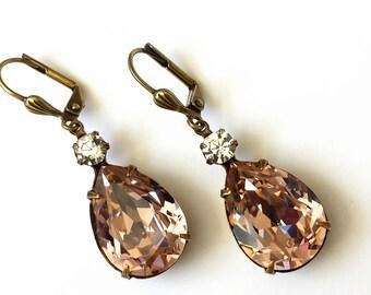 Swarovski Vintage Rose Crystal Earrings Swarovski Rose Drop Earrings Vintage Rose  Wedding Bridal Earrings Art Deco Double Drop Earrings