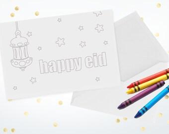 Color-In Eid Mubarak Greeting Cards