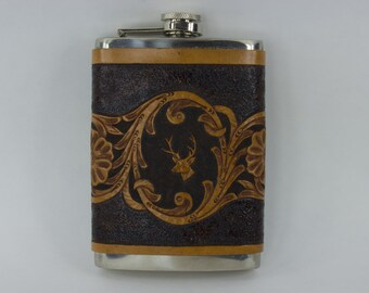 Metal Flask and Leather Sleeve