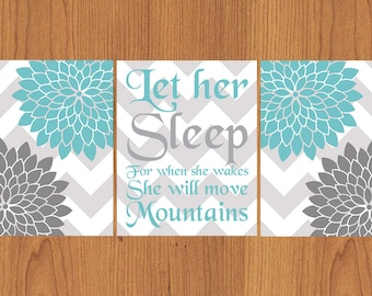 Let Her Sleep For When She Wakes And Though She Be But Little She is Fierce Nursery Wall Art Chevron Floral Set of 3 Aqua,Grey (112)