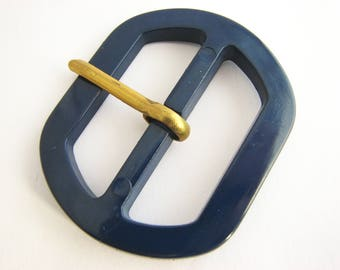 Large navy blue buckle, plastic belt buckle with prong, for 40 mm belts, unused!