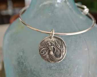 Mermaid bracelet // silver adjustable bangle bracelet. Mermaid charm // Available in Silver or Gold