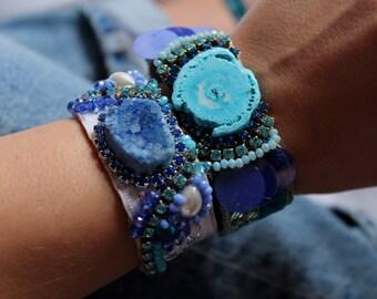 Blue Agate Bracelet Druzy Agate Cuff Bracelet Boho Chic Jewelry Rhinestone Cuff Bracelet Ethnic Jewelry Swarovski Crystal Bracelet Hippie