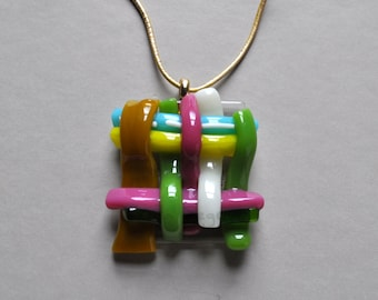 Woven Fused Art Glass Pendant Necklace | Brass | Pink Yellow Cyan Blue Green Gold White