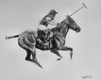 Equine art horse art horse gift horse lover gift LE polo art print 'Get after it' from an original charcoal wall art home decor
