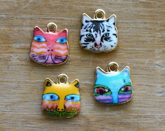 Enamel Cat Charm Pick Your Color Cat Charm 24K Gold Plated Brass Retro Cat Pendant Vintage Jewelry Supplies (AS075-78)