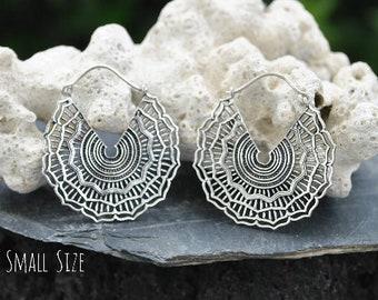 Silver plated brass earrings, Tribal earrings, Gypsy Hoop earrings, Vintage jewelry, Bohemian jewelry, Gifts for her
