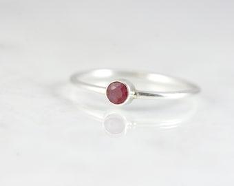 July Birthstone Ring - Ruby Ring - Sterling Silver Stacking Rings - Birthstone Ring Tiny - Gemstone Ring Dainty - Mom Ring with Birthstone