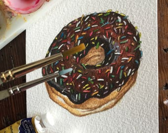 Chocolate frosted donut with sprinkles - Original Watercolour