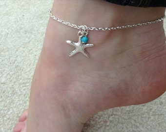 Starfish and Turquoise Ocean, Beach ankle bracelet, anklet.