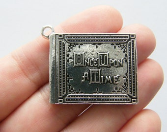 1 Once upon a time book charms antique silver tone PT83
