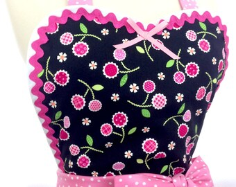 Retro Apron - Pink Dahlias Pin Up Diner Apron/ Ready To Ship, Woman's Apron, Hostess and Kitchen Apron