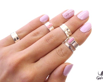 Pink Silver Candy Jewel Box - Stack Silver Knuckle rings and Silver Midi Rings