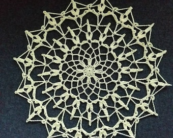 "New Handmade Crocheted ""Serenade"" Doily in Maize 9"""