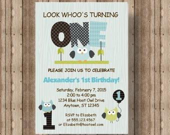OWL FIRST BIRTHDAY Invitation for Boys / Blue Owl 1st Birthday Invitation / Cute Wood Owl Printable Invitation / Woodland Boy Invitation