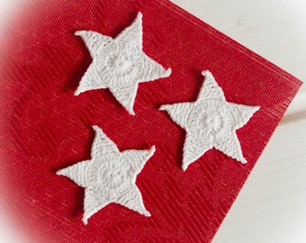 Crochet star ornaments Home decotarions White star Winter ornaments Crochet stars White hanging decorations