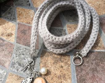 Grey Brooch Wrap Bracelet