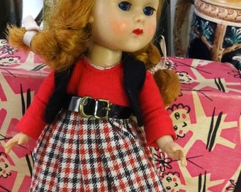 Beautiful Vintage Vogue Ginny SLW Doll with Auburn Braids in Original Box and Tagged Vogue Outfit  (1543