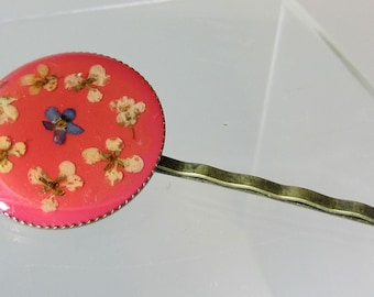 Sweetheart Flowers on Pink Hair Pin, Real Flowers,  Resin, Pressed Flower Jewelry, Brass (3050)