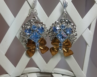 Re-purposed, upcycled assemblage vintage style rhinestone and bow earrings