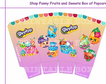 Shop Funny Fruits and Sweets box of popcorn, Party decoration, Printable box,  party supplies, digital download, party favor