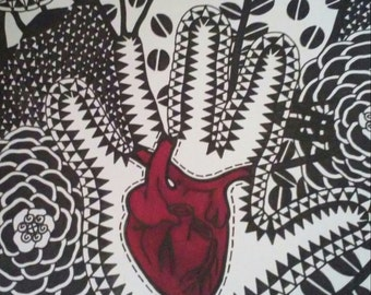 Hand with Red Heart and Black and White Flowers and Eyes Design Background Pen and Ink Drawing