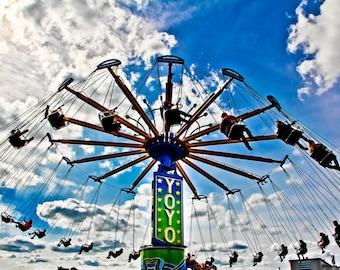 Yoyo Carnival Swings Ride Fine Art Print- Carnival Art, County Fair, Nursery Decor, Home Decor, Children, Baby, Kids