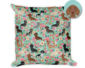 "Dachshund Floral Square Pillow - 18""x18"""