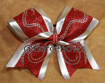 Swirly Girl Rhinestone and Glitter Cheer Bow