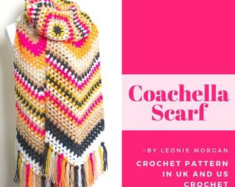 Crochet Scarf Pattern - Coachella Scarf - PDF scarf crochet pattern