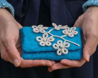 Felted Turquoise Envelope Wallet / Clutch - Wool and Cotton Irish Lace