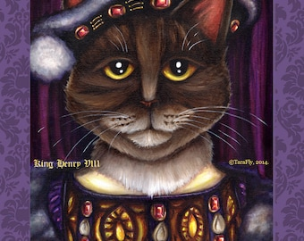 King Henry VIII Cat Art, Brown Tabby Cat Tudor King, 5x7 Fine Art Print