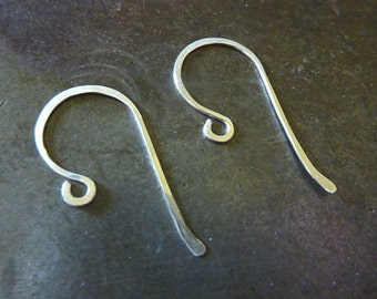 Sterling Silver Hammered Ear Wires - Bent Tail - 1 Pair - Choose Your Gauge
