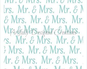Mr and Mrs Wedding Background Stencil