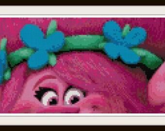 Trolls Cross Stitch Pattern - Trolls - Princess Poppy - PDF Download