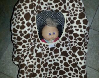 Fleece Giraffe Animal Print Baby Carrier Cozy Cover Up 4 Infant Car Seats