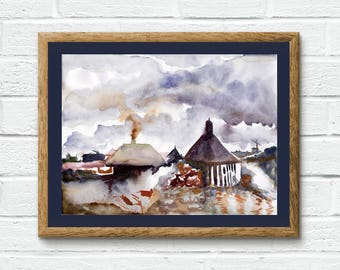 "Original Watercolor Painting ""Landscape with a Chimney"" / Watercolor Landscape / Lake Painting"