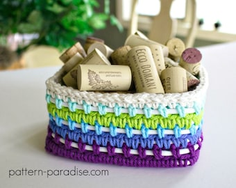 Crochet Pattern Dragonfly Caddy Basket PDF 17-303