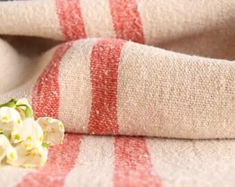 F 271: Sac de Grain antique ROSE rouge coussin benchcushion, 42.52 long, mariage décoration, tissu de sac de grain, vintage