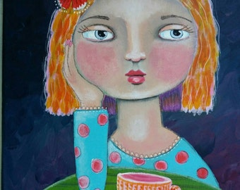 "Original painting 12x12"" | Coffee Daydreams | Denise Baldwin | oddimagination | folk type art"