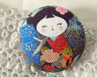 Japanese doll cloth button, 24 mm / 0.94 in diameter