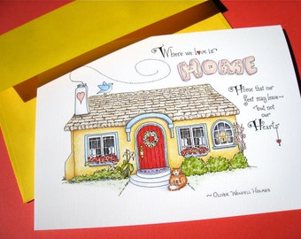 New Home Card - Housewarming Card - Home Quote - Where We Love is Home