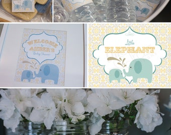 DIY printable birthday party package - little elephant