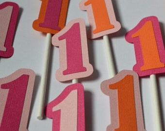 Owl Number Cupcake Toppers Hot Pink, Orange & Light Pink By The Dozen 12