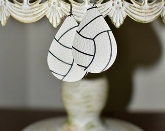 Volleyball leather earrings. Black and white. FREE SHIPPING