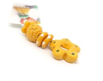 Pumpkin Orange Ceramic Bead Set with Flower Pendant, Handmade Bead Set - artisan beads