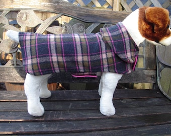Dog Jacket-Pink and Brown Plaid Wool Dog Coat- Small- 12 to 14 Inch Length- Or Custom Size