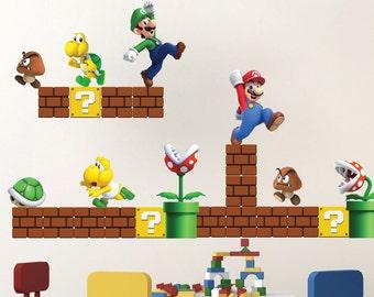 Super Mario Decals, Mario Decals, Game Room, Vintage Nintendo Decals, Super Mario Wall Designs, Super Mario Wall Murals, Mario Art, n71